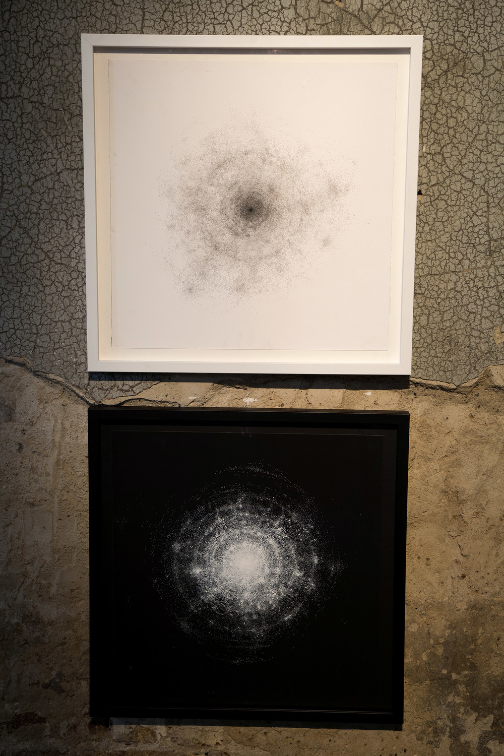 'Pulse (white)' , 'Pulse (Black)' 60 x 60 cm   white ink on black paper, black ink on white paper