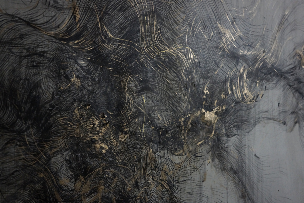Detail,  ink, incense burnt gampi paper and gold pigment on paper,  180 x 100 cm