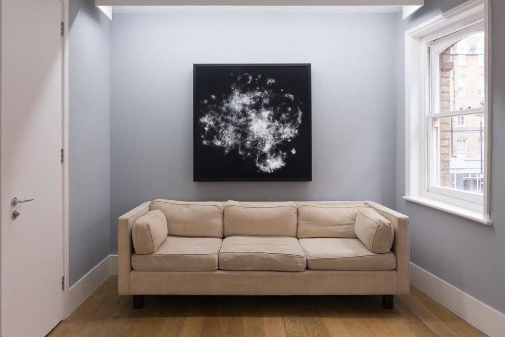 'Nebula', two layers of printed perspex over light box, 120 x 120 cm (2016)