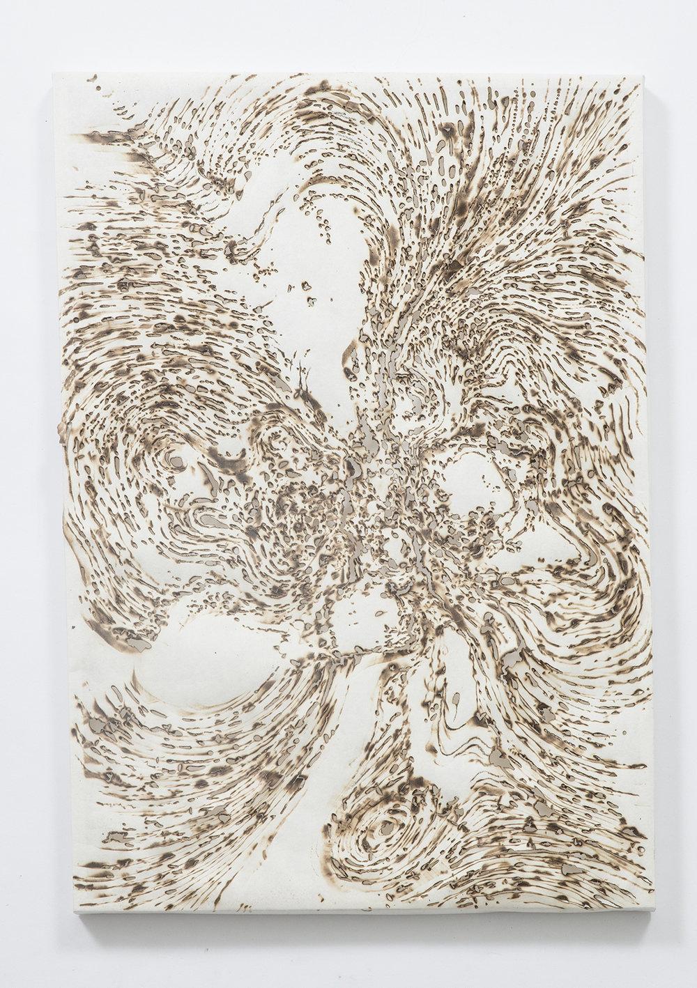 'Turbulence',burnt kozuke paper ,52 x 36 cm (2017)