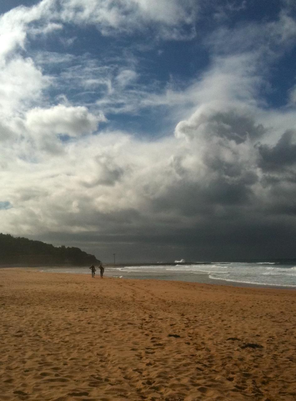 Winter beach morning
