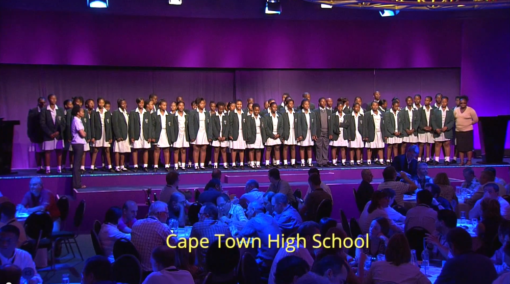 BELRON: WORLD CONFERENCE     SOUTH AFRICA    Cape Town High School choir opens Belon'sr world conference.