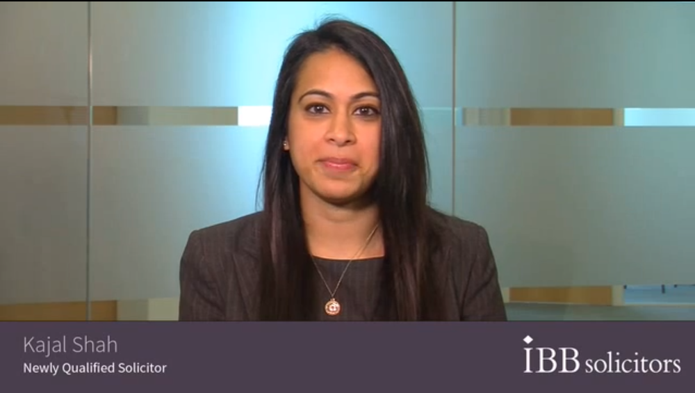 IBB Solicitors - Filmed & Edited in 3 hours    Solicitor Kajal Shah, newly qualified at IBB Solicitors, tells why she thinks her law firm is a good choice for trainees.