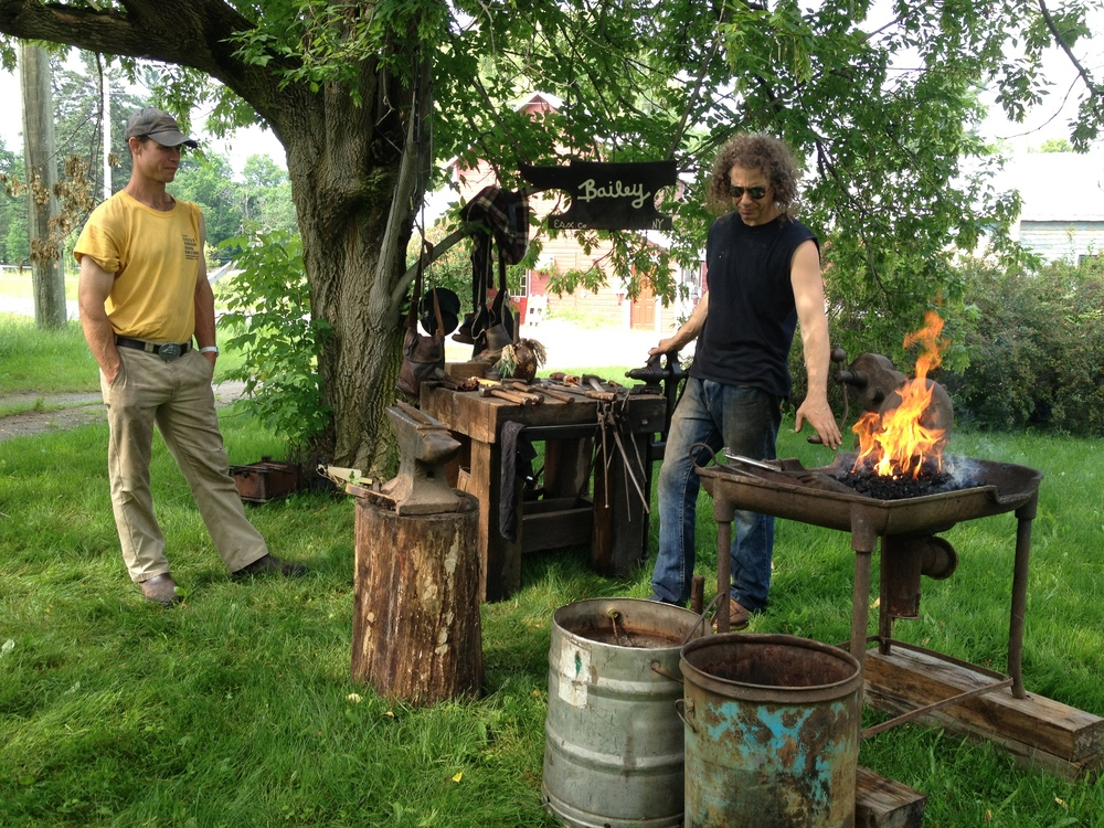 Sated, we split up for some workshops - I chose a blacksmithing demo from Russ, the local blacksmith.