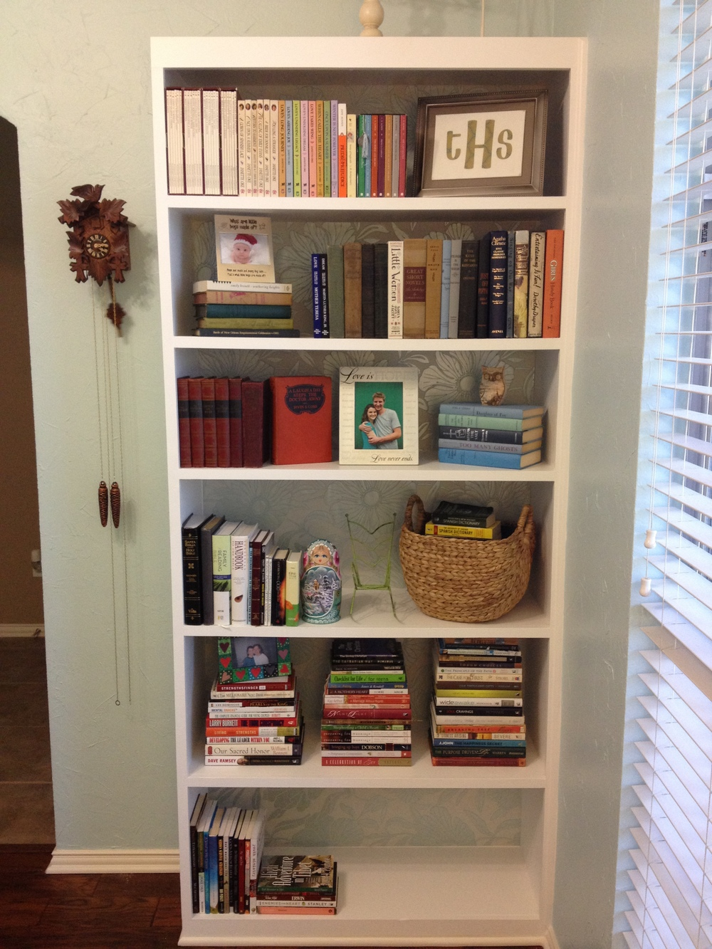 Semi-completed bookcase arrangement.