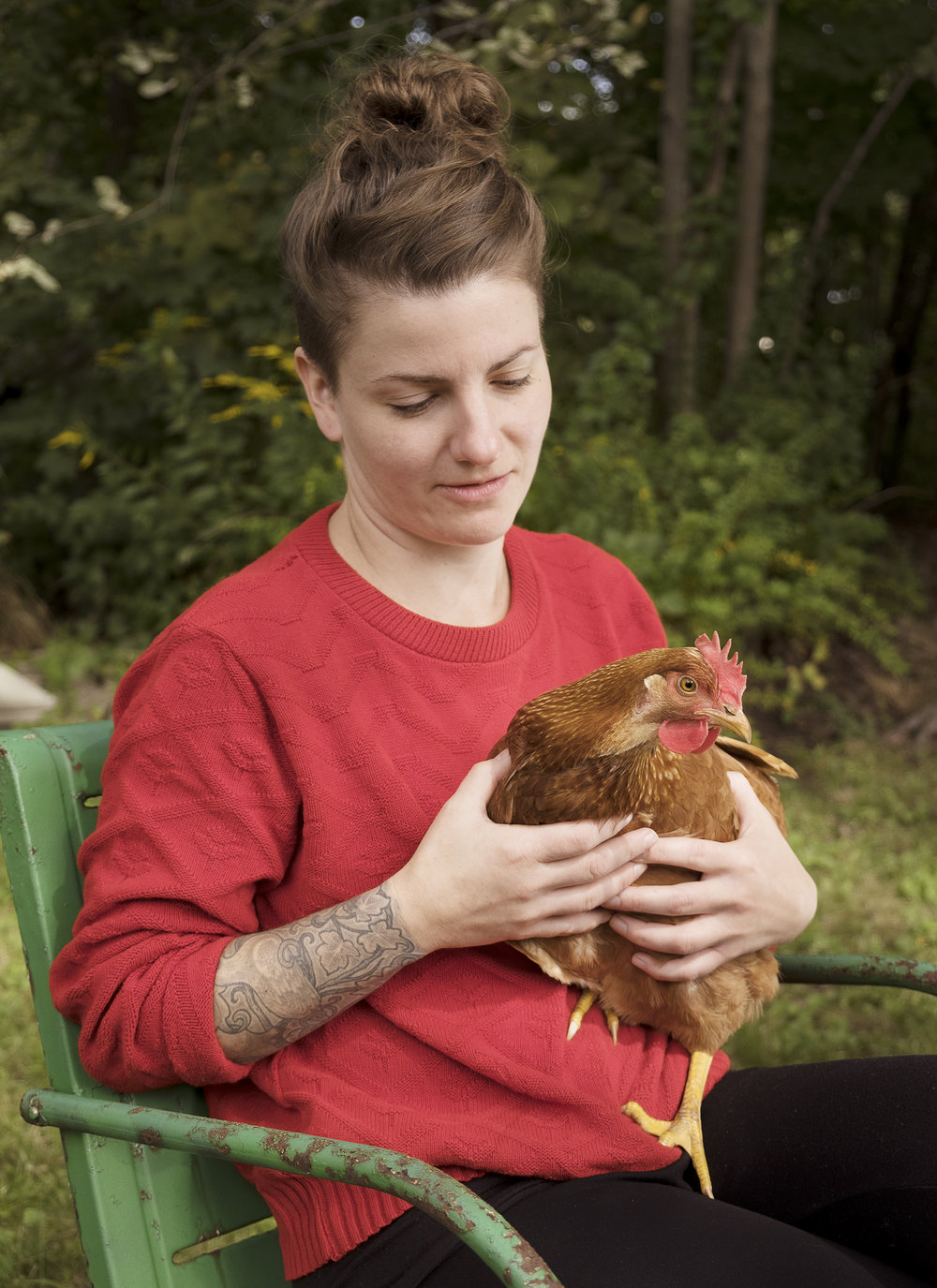 Marni with her Neighbor's Chicken.jpg