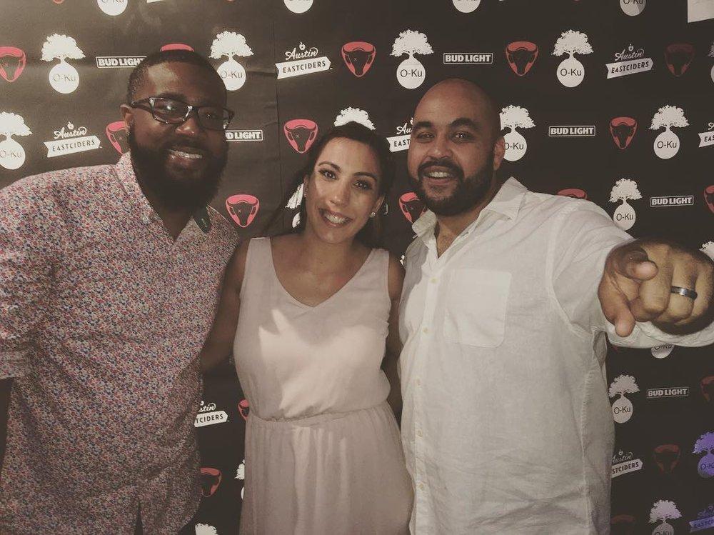 DJ rDOT (l) with DJ Natty Heavy (r) and his wife.