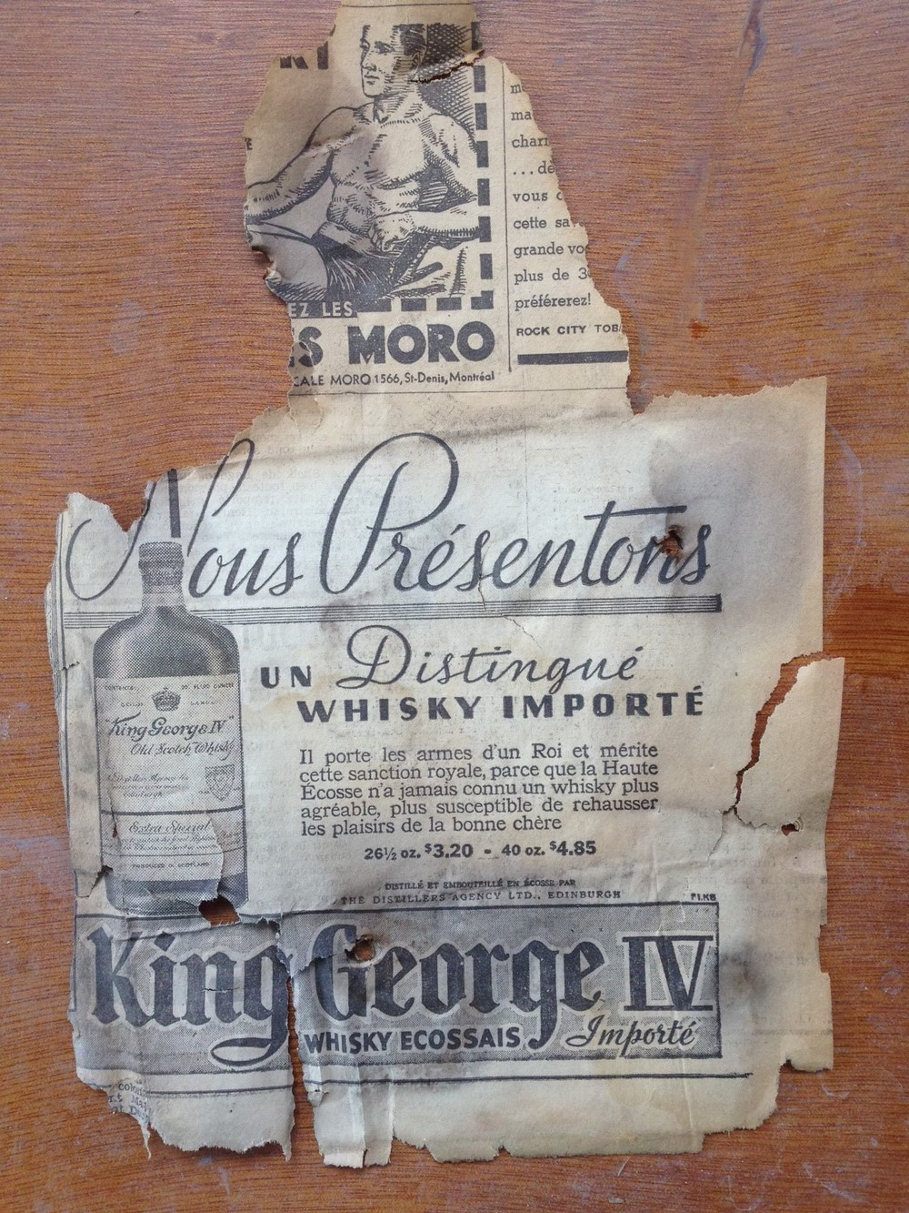 1938 newspaper insulation found underneath flooring - Whisky Advert
