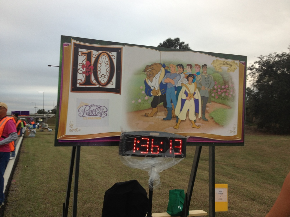 An example of the mile markers for the runDisney races.
