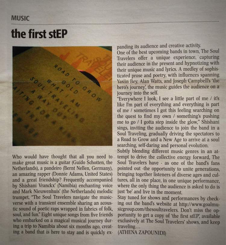 "Review of The Soul Travelers ""the first step"" ep in the holland times in september 2014"