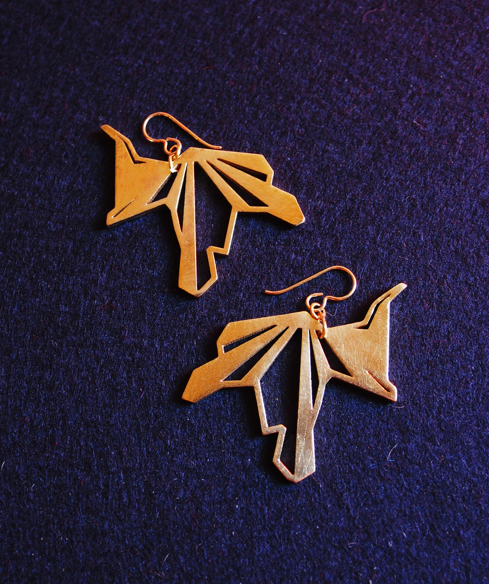 """""""heron""""_brass metal earrings ($95)"""