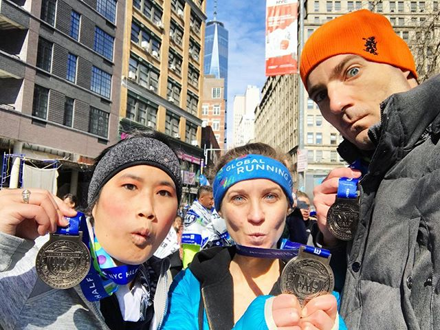 Team Origami Bunny finishes with some blue steel! United NYC Half Marathon 2017.  #bluesteel #zoolander #teamorigamibunny #prday #finisher #unitednychalf #halfmarathon #nyrr #run #runner #instarunner #running #thingsiseewhilerunning #nyc #medal #winter #financialdistrict