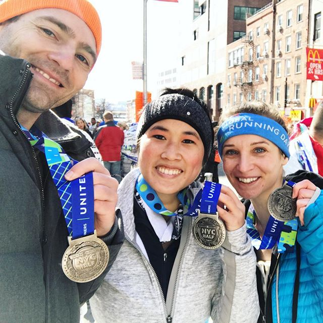 Team Origami Bunny finishes! United NYC Half Marathon 2017.  #teamorigamibunny #prday #finisher #unitednychalf #halfmarathon #nyrr #run #runner #instarunner #running #thingsiseewhilerunning #nyc #medal #winter #financialdistrict