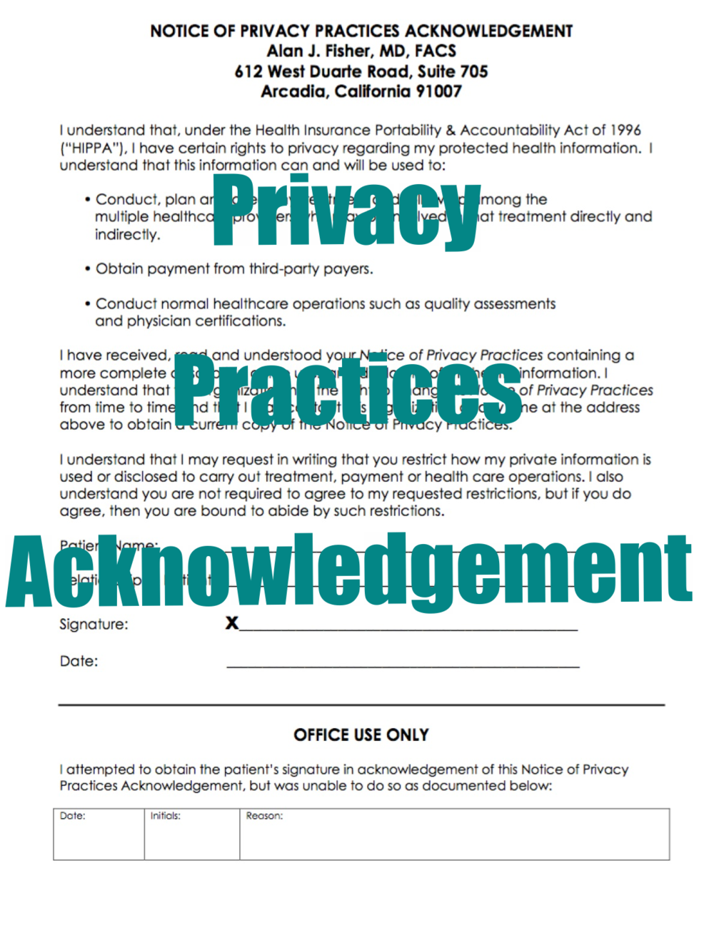 Privacy Practices Acknowledgement