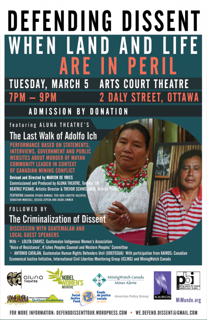 Co-Sponsorhip: Presentation of 'The Last Walk of Adolfo Ich' and a discussion with Guatemalan human rights defenders