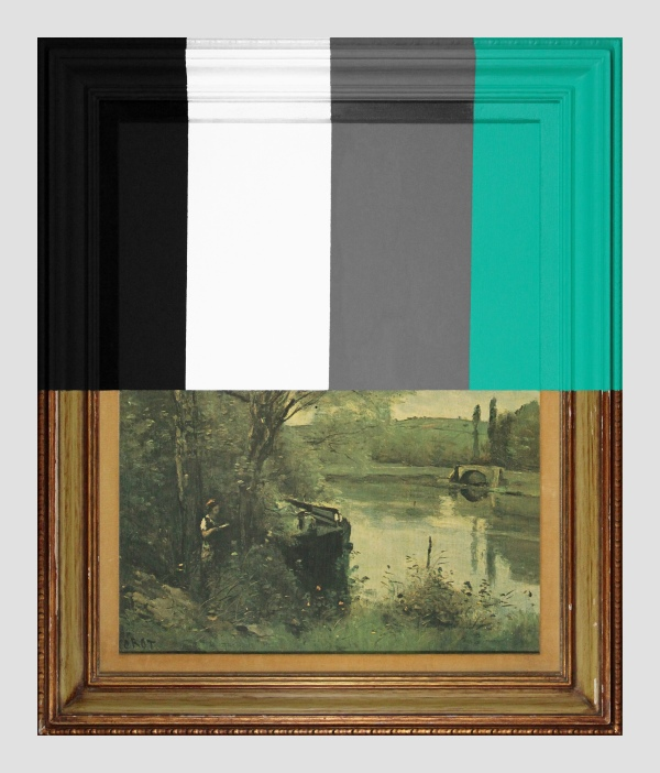 Thrift Store Landscape With Large Bars - paint on found print and frame - 2013 - 28 x 23,5 x 1,5 - 006.jpg