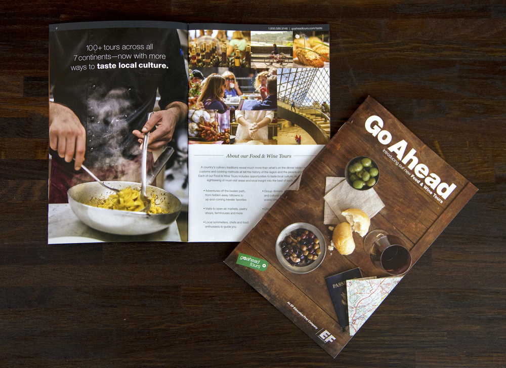 Print piece accompanied by four postcards highlighting the countries visited on Go Ahead's Food & Wine Tours.