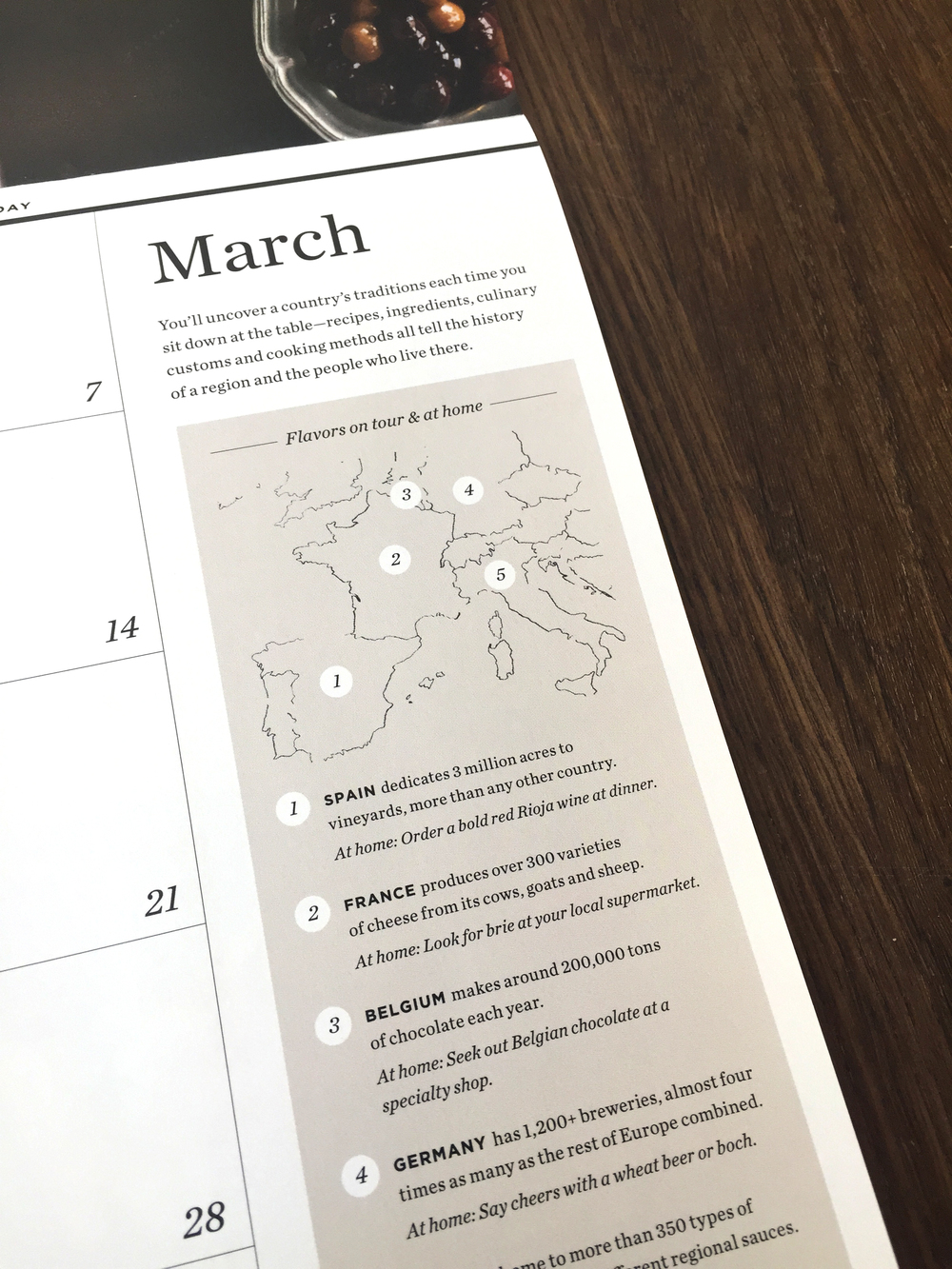 Each month featured additional content tailored to the theme. For the month of March, we celebrated flavor by focusing on regional tastes from the 5 countries we visit on our Food & Wine tours.
