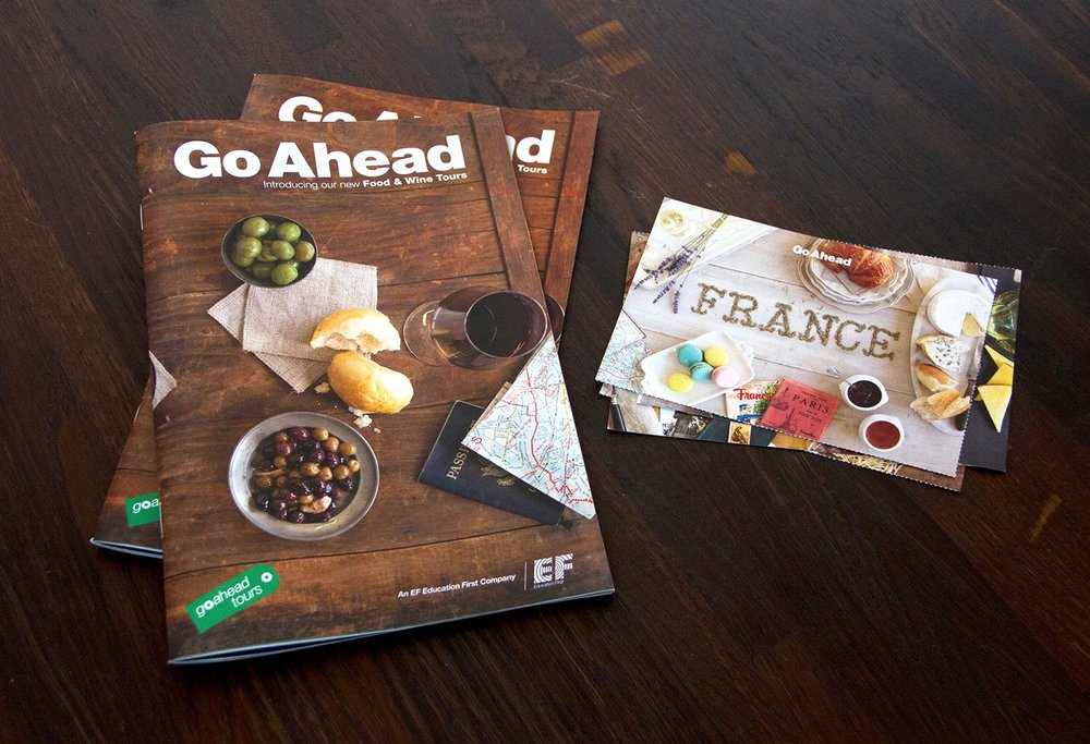Printed direct mail booklet accompanied by four postcards highlighting the countries visited on Go Ahead's Food & Wine Tours.