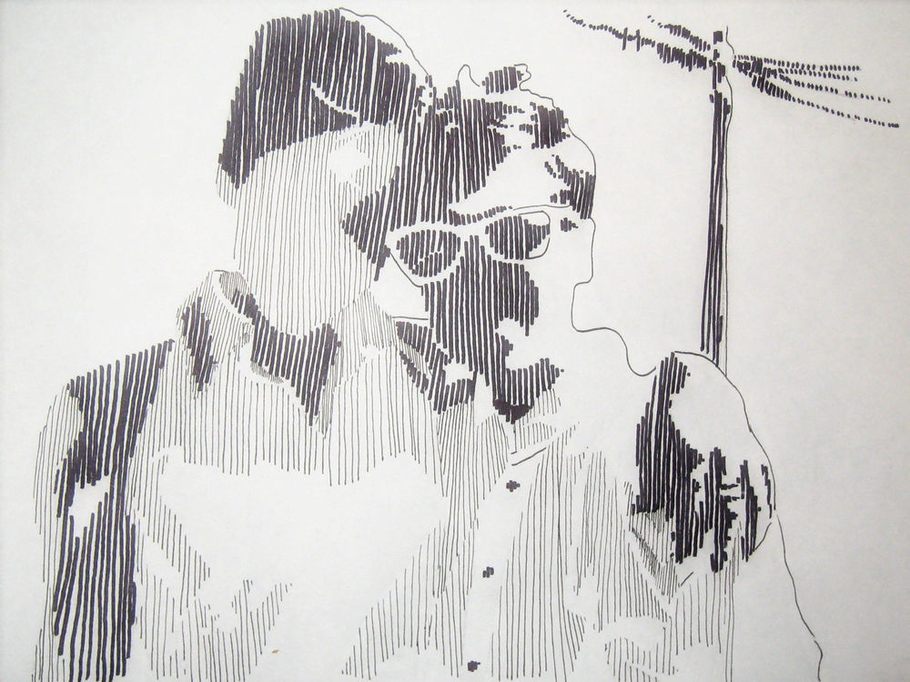 Self Portrait with a Friend,  Pen & Ink, 2008