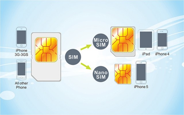 From largest to smallest:  Standard SIM - Micro SIM - Nano SIM.