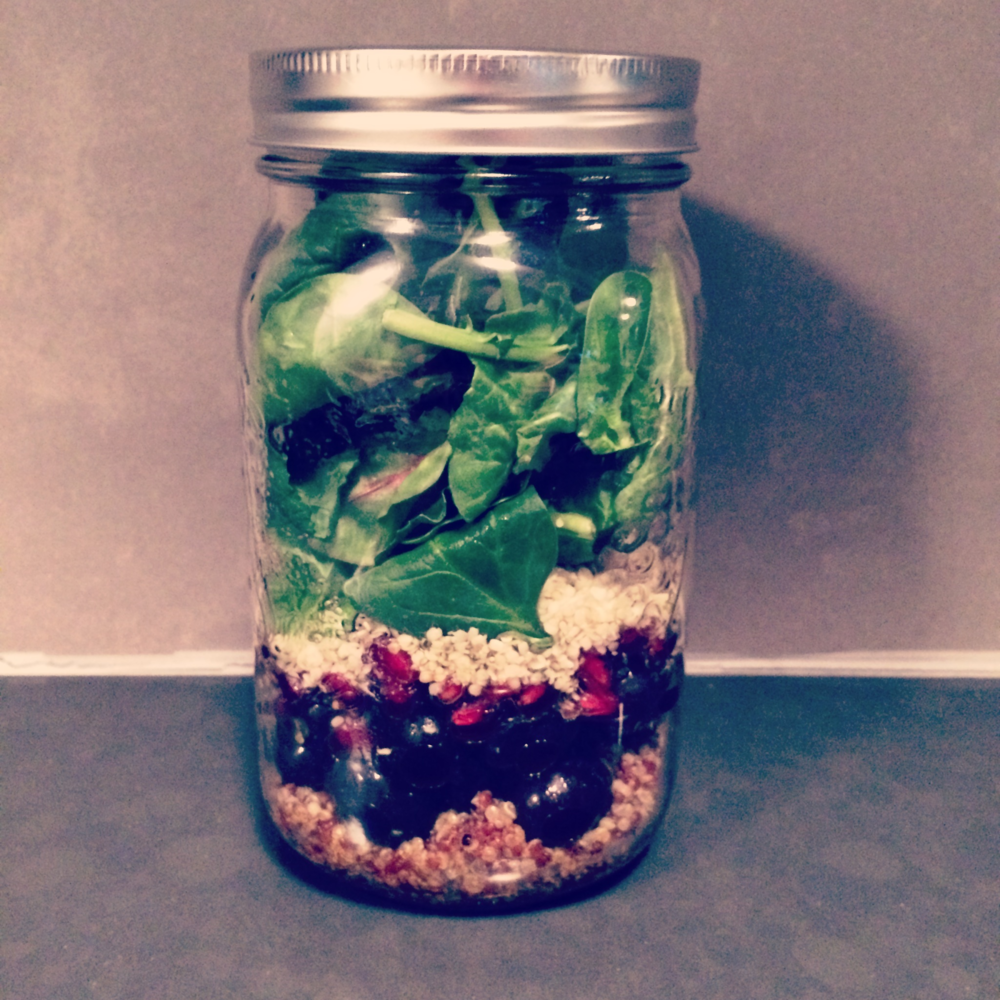 Pomegranate grape mason jar salad