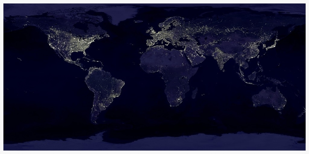 A map of the night-time city lights of the world constructed from images taken by the Defense Meteorological Satellite Program's Operational Linescan System.