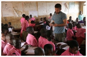 On Reese's trip to East Africa, and later trips to Latin America, he has been able to assess the needs of impoverished communities. Here, Reese spent time teaching in a primary school.