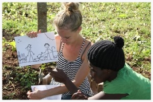 Grace Aaseby and Cissy Kimbugwe teach the children a lesson on Cain and Abel, replete with their own illustrations and impassioned storytelling skills. Many parents in East Africa reserve their children's education for school, but we have empowered parents to take an active role in their children's education, particularly a biblical one.