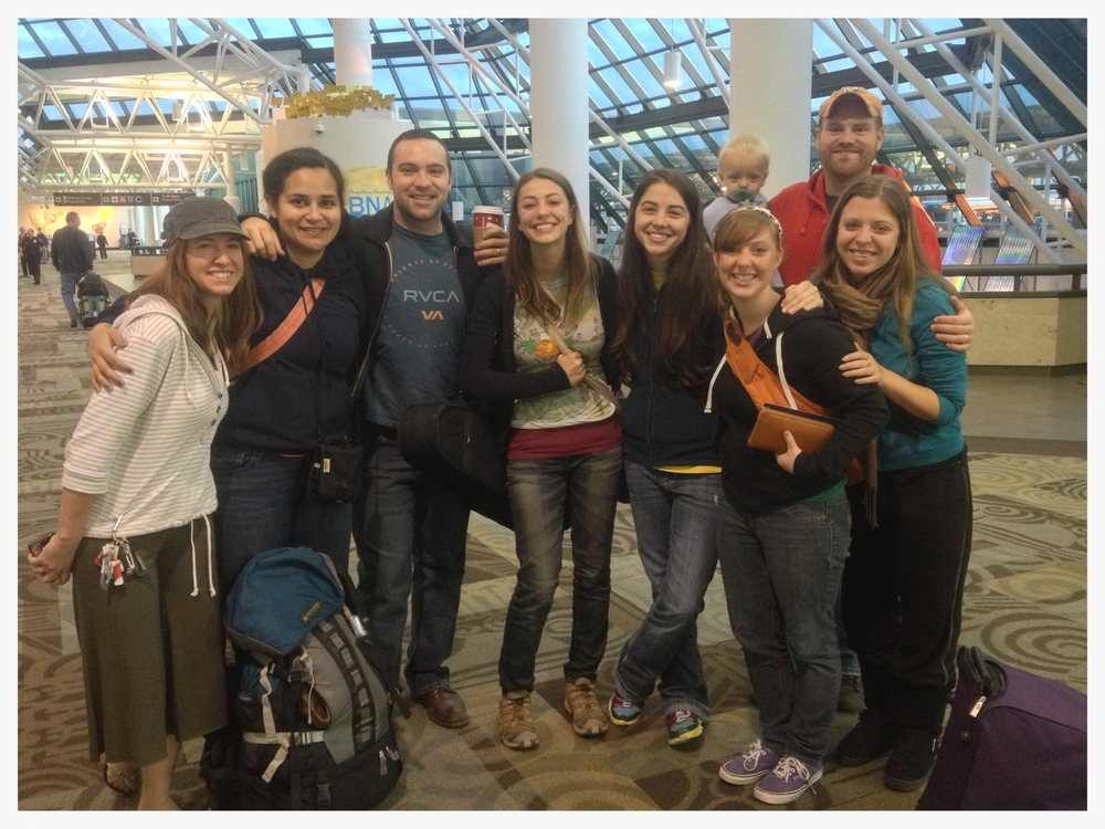 The Southeast Asia team gathered at the airport to send off Leafa Vagatai (2nd from left), Brittani Collinsworth (middle) and Breann Bennecker (2nd from right) for their 5 week trip.