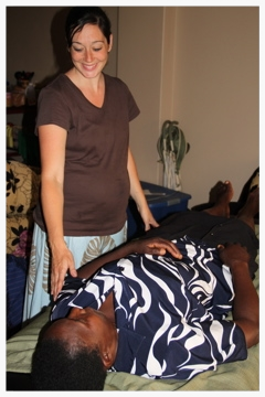 Kim was able to utilize massage therapy to ease a woman's chronic pain. Through education on stretching and body placement, Kim hopes that the pain will be less severe from now on.