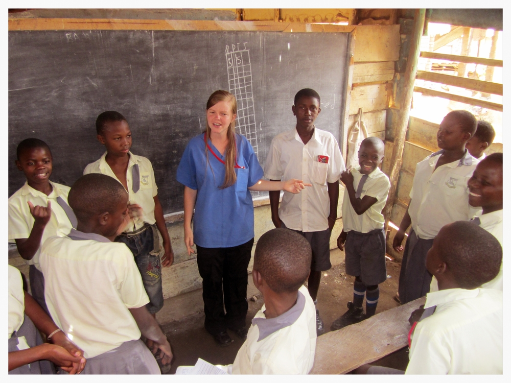 Brynn Foster loves to sing. She also writes a few of her own songs. Here, she is teaching songs to children to help them remember basic health practices, like hand washing.