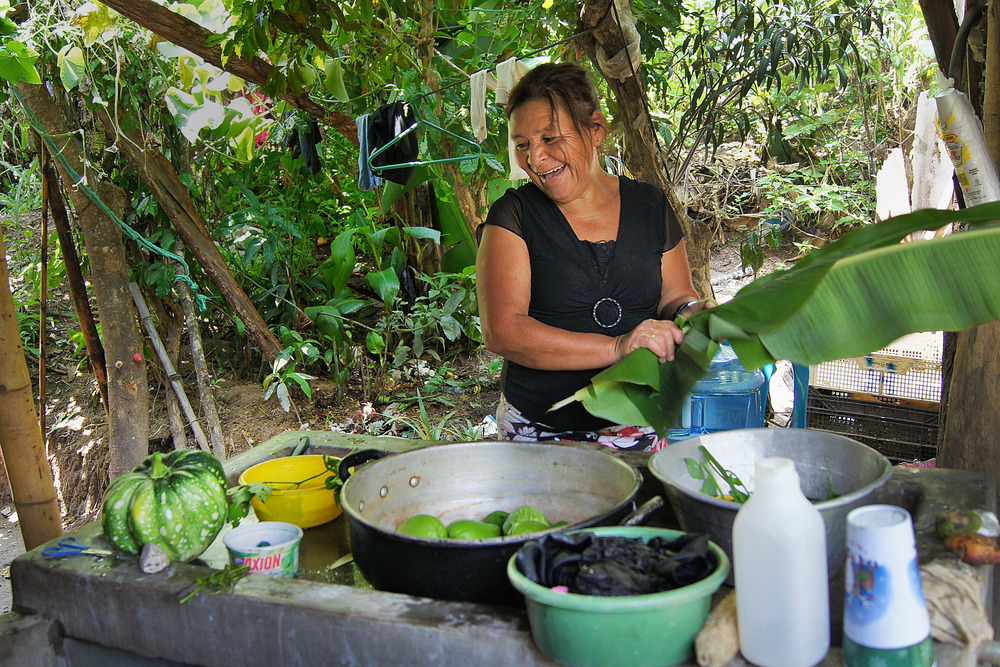 Rosa is from Milagro de Dios, an IDP transient village. Anytime we visit, she cooks whatever she has for us.