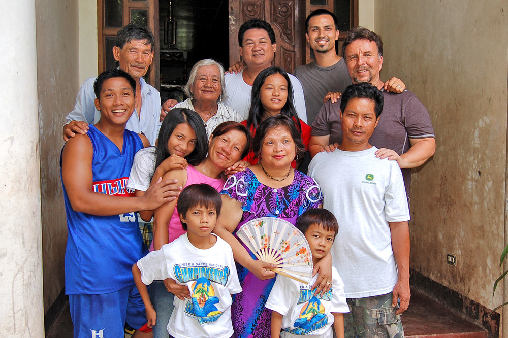 Trinidad and her brother Artemio's family, including Mike and Gregg at the top right.