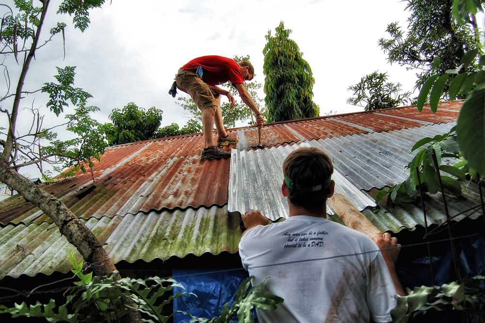 Roofing is a very dangerous job in the Philippines. Our guys have to be even more cautious considering the aged wood and unregulated building codes.