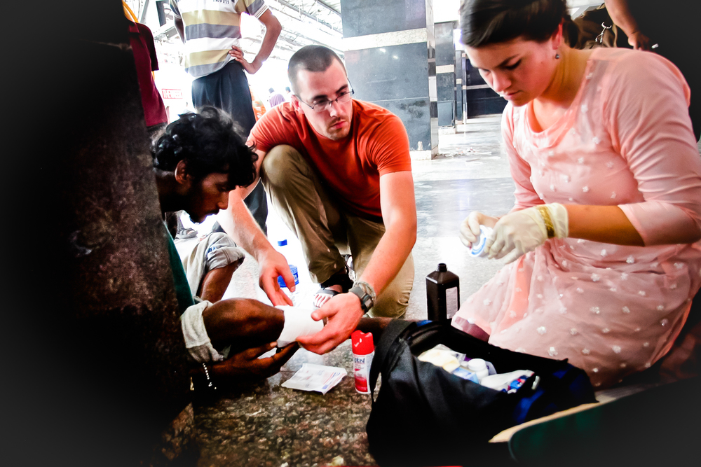 We would perform wound care along the way, as often, people in need would be along our path.