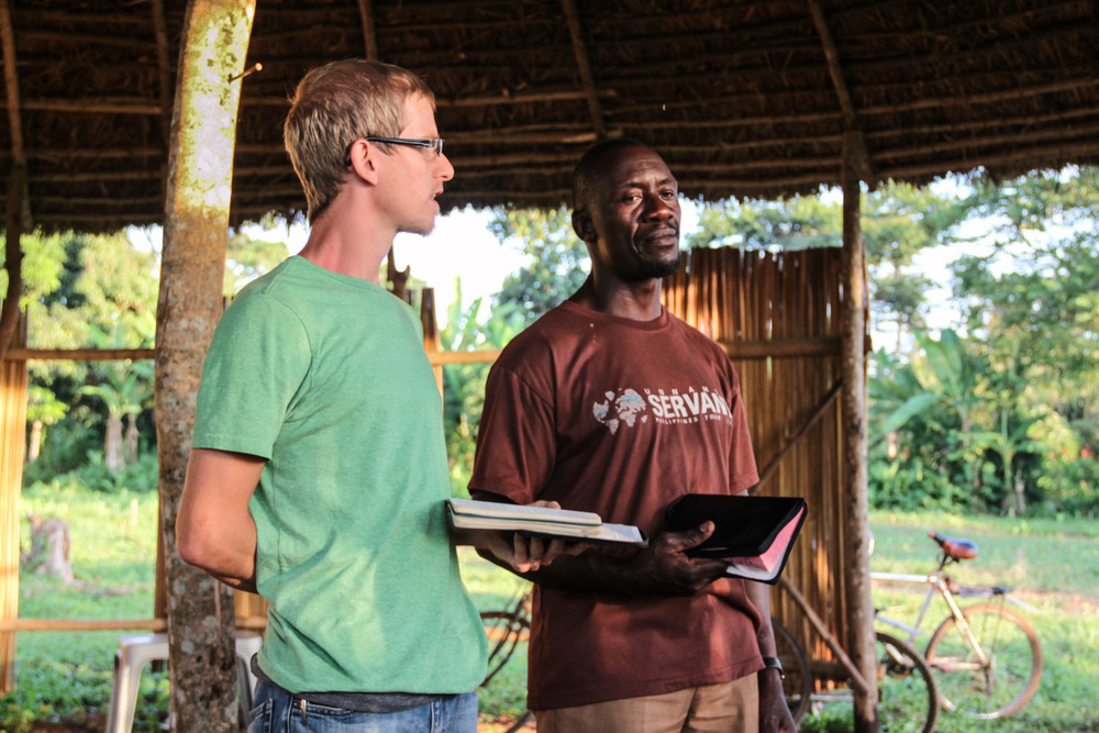 Rylan Aaseby preaches during weekly bible studies for our friends. Peter Kimbugwe translates. Teaching God's word is one of the most important things we do in East Africa. A biblical education empowers our African cooperatives with the ability to know right from wrong, good from evil, and to participate in bringing more good into their world.