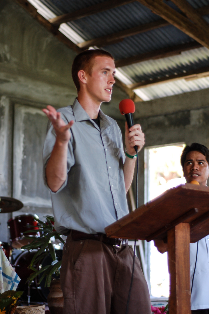 Brett Madron speaks at a church in a rural area outside Tacloban City, Leyte. While over 80% of the population in the Philippines is 'Christian', a lack of biblical education has had ill-effects on the quality of influence the Church is able to have on society at large.