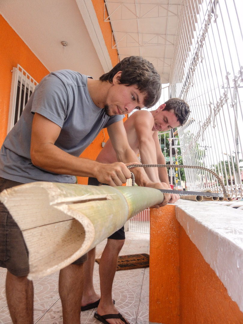 Ty and Chris are learning to work with one of the Philippines most abundant crops, bamboo.  Bamboo is a viable option for the construction of small structures, particularly in more rural areas.