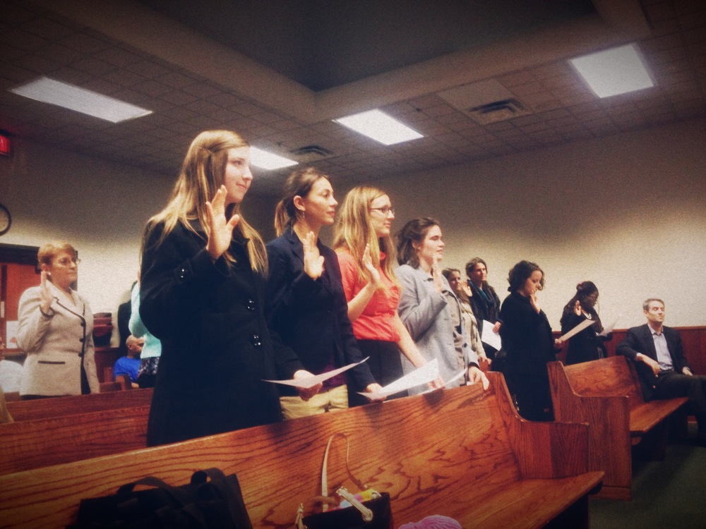 There are over 400,000 children in the foster care system in the United States. Nine of our organization's participants are trained to advocate on the behalf of such children in court. Here, Kelly Jobe, Brittani Collinsworth and Rachel Nowlin are being sworn in to be court appointed special advocates.