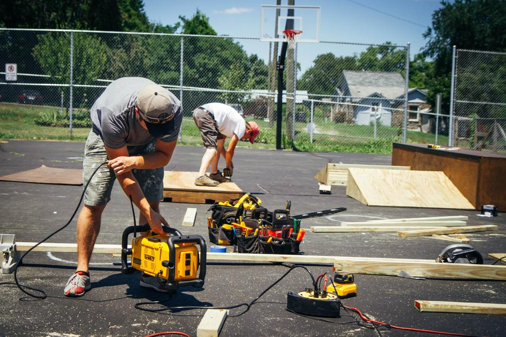 Cameron Kagay and Rylan Aaseby, both fathers and co-workers at Music City Handymen, volunteered several Saturday mornings towards constructing the skatepark.