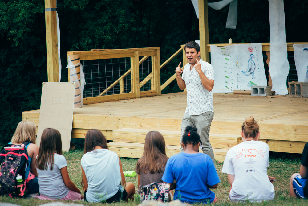 Before getting on the stage, Benjamin Reese gives the kids the basic principles of acting, skills like projection and stage direction.
