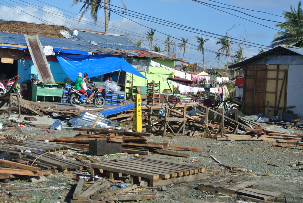 "Typhoon Haiyan had a wind speed of 195 miles per hour, the highest measured in any hurricane or typhoon. 90 percent of homes in the coastal Leyte province were ""significantly damaged or destroyed."""