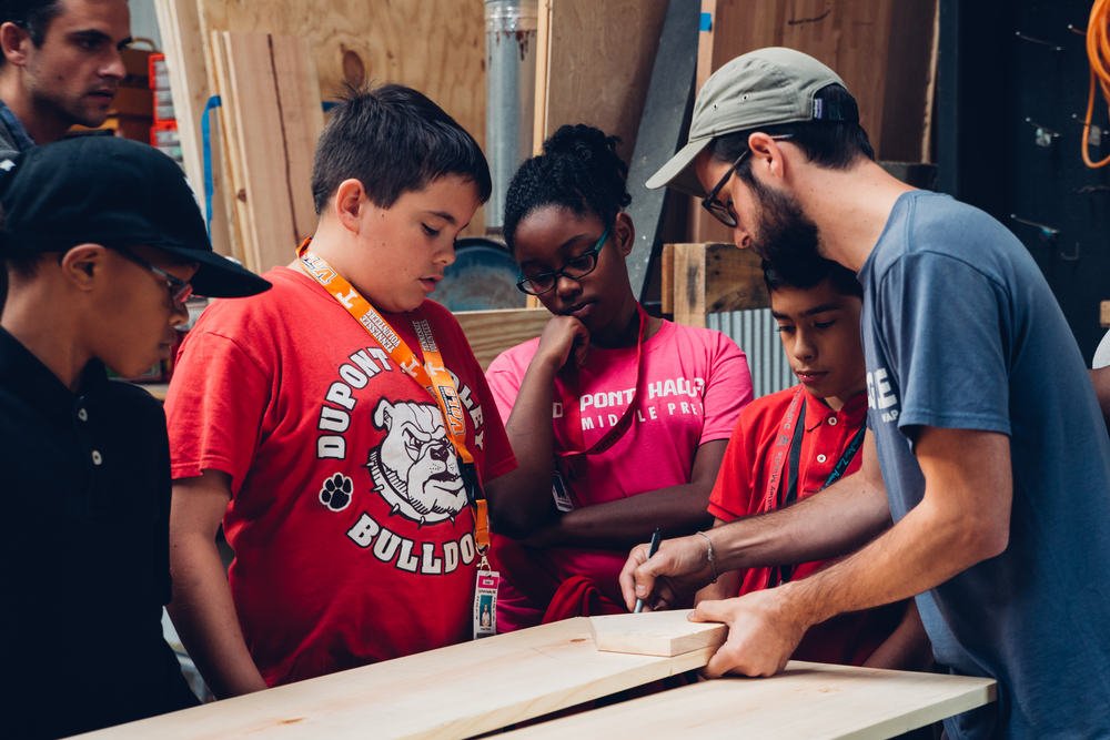 Nick Sherrod, a woodworker, teaches students how to construct their own toolbox. Working hands-on with tools was a highlight for many of the boys this semester.