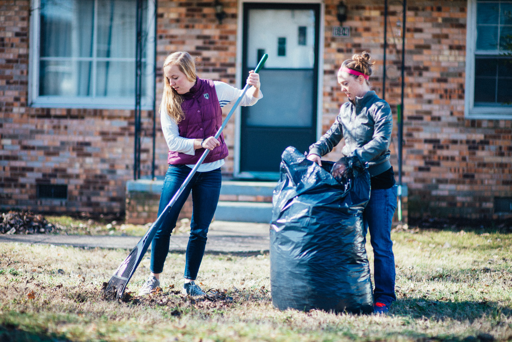 Anna Hastings and Breann Bennecker were a real blessing to our neighbor, Ms. Tanya! These two completed a job that was started the week prior of raking up all of Ms. Tanya's leaves in her yard, a job that Ms. Tanya would not have been capable of carrying out on her own.