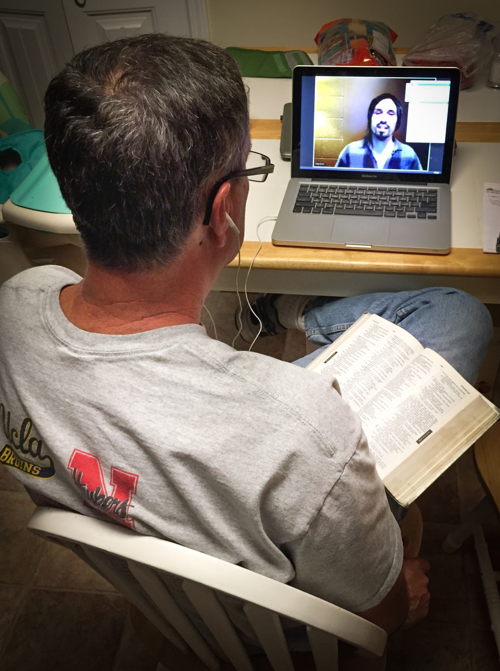 Bob Cates, father of G.O.D. member Stephanie Bartlett, has enjoyed deeper theological conversations with his daughter as a result of our Institute Online program, which he tunes into from California.