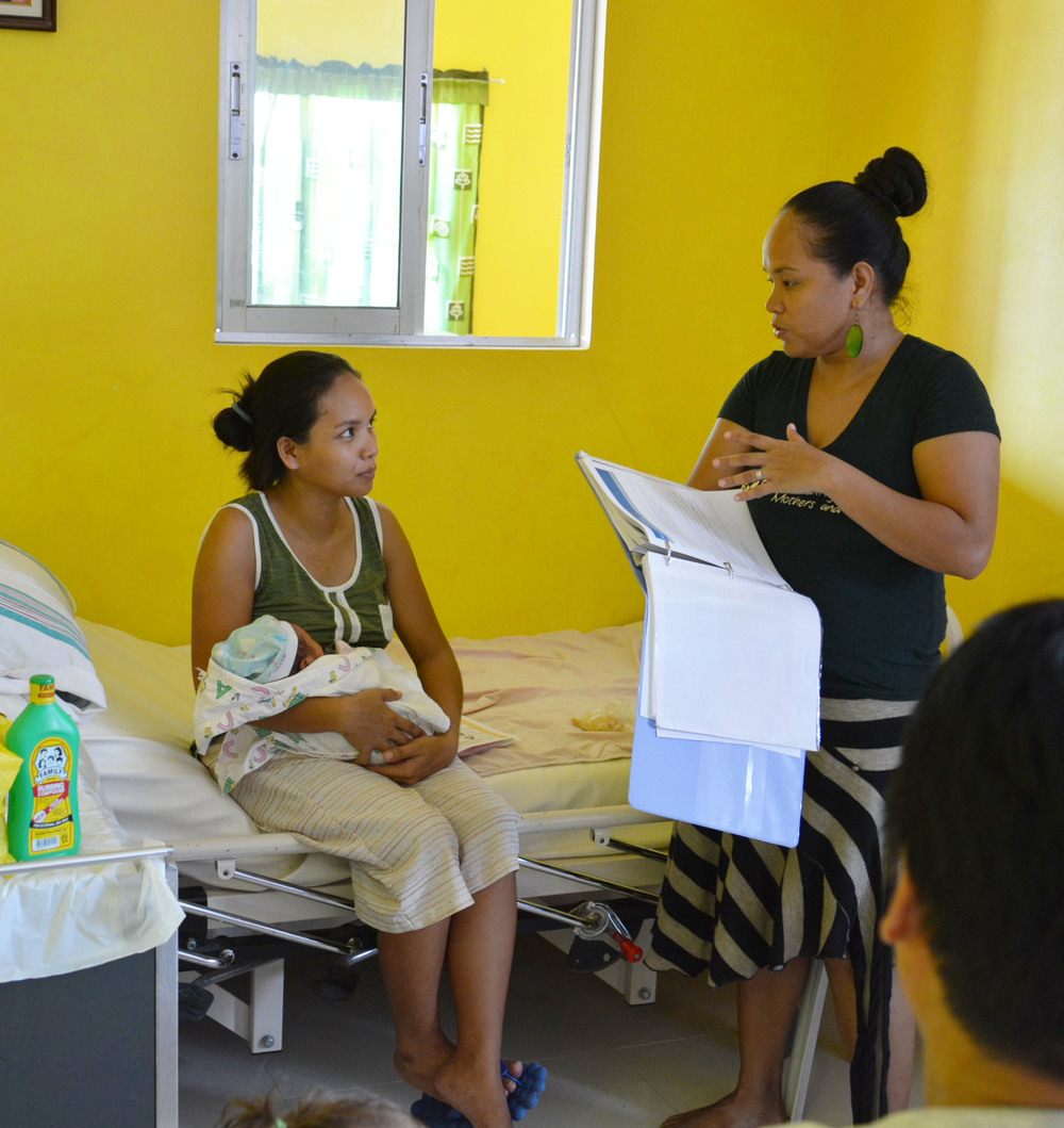 Rina (Escosura) Miller is a trained social worker. Her advocacy skills and knowledge of local programs are helpful in educating mothers about the childbirth experience and how to continue on in health afterwards.