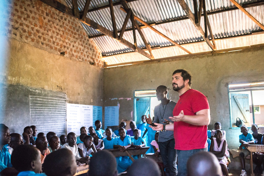 Ten students from the Institute for G.O.D. took part in an Immersion trip this December. As newer members of the East Africa team, this trip gave them avenues to serve at our Ugandan hub. Here, Nick Moore and Henry Miiro teach the children at St. John's a health care lesson. Both men study at the Institute in their respective countries, and have chosen health care as their focus.