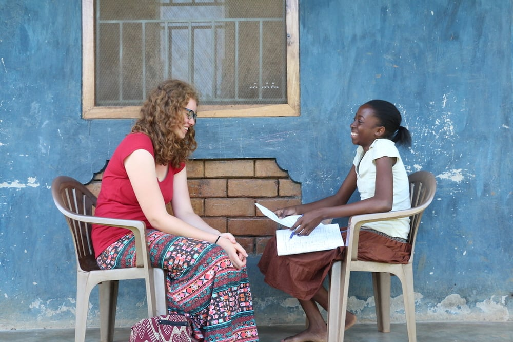 In the afternoons, our team offered tutoring to the kids in the area. Quinn, one of the children we sponsor through school, received Chemistry tutoring from Kara Hadley, a student at the Institute for G.O.D. in Tennessee. Quinn is an extremely bright girl whom we've been assisting through her life struggle with sickle-cell anemia.