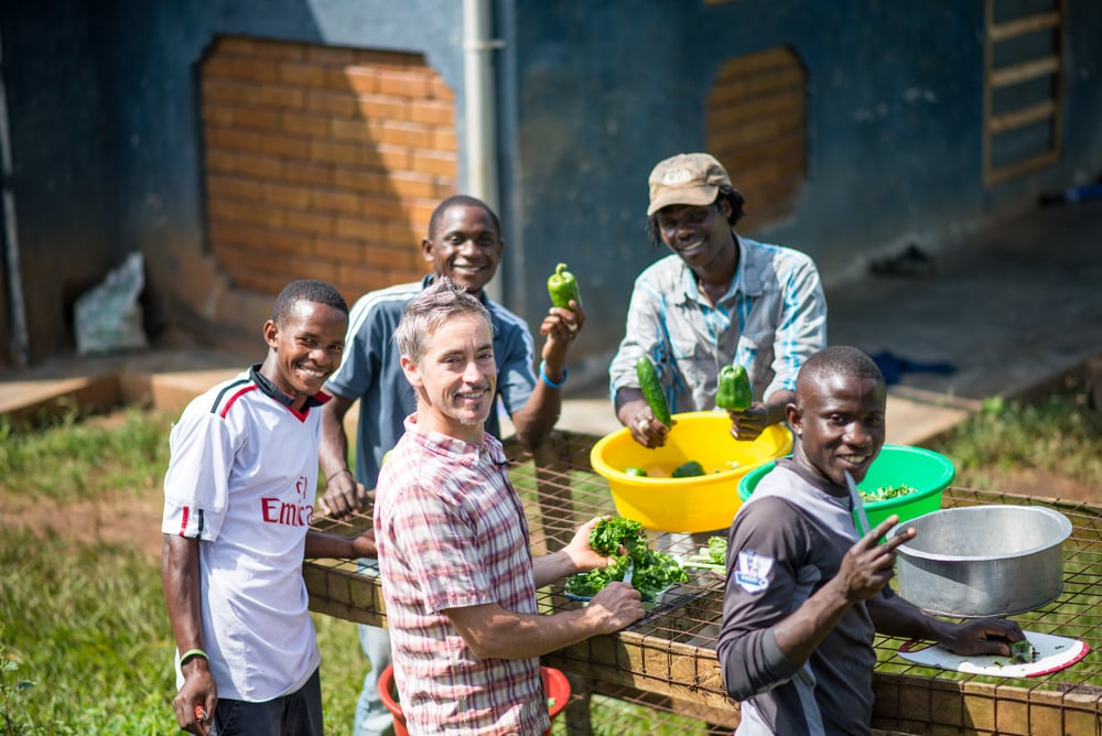 At our property in Uganda, the agriculture team processes some of their fresh green peppers and greens.